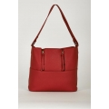 NEW WOMENS GORGEOUS MEDIUM RED TEXTURED SHOPPER BAG WITH DECORATIVE ZIPPERS