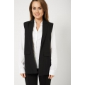 NEW WOMENS GORGEOUS COLLARED SLEEVELESS LADIES BLAZER WITH FLAP MOCK POCKETS SIZES XS S M L