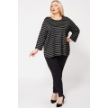 Sparkly Silver Stripe Jumper Top In Black Size 18