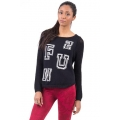 BASEBALL STYLE KNITTED COTTON JUMPER WITH FUN DESIGN - Black size M