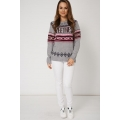 NEW WOMENS GORGEOUS CONTRAST KNIT JUMPER WITH SWEETHESS PRINT SIZES XS S M L XL