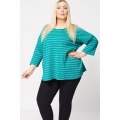 Sparkly Silver Stripe Jumper Top In Green Size 20