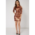 NEW WOMENS GORGEOUS SHINY CUT OUT SHOULDER DRESS sizes 10 12 14