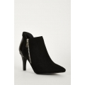 NEW WOMENS GORGEOUS FAUX SUEDE AND PATENT ANKLE BOOTS IN BLACK sies 3-7