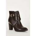 NEW WOMENS GORGEOUS BROWN LEATHERETTE BOOTS WITH METAL TRIM size uk3-uk