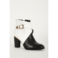 NEW WOMENS GORGEOUS MONOCHROME HEELED ANKLE BOOTS WITH GOLD TRIM size uk3-uk8