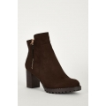 NEW WOMENS GORGEOUS BROWN CLEATED SOLE SIDE ZIP BOOTS size uk3-uk8