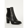 NEW WOMENS GORGEOUS BLACK DOUBLE SIDED ELASTIC HIGH BLOCK HEEL ANKLE BOOTS WITH METALLIC DETAIL SIZES