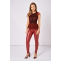 NEW Ladies women RED FAUX LEATHER TROUSERS WITH ZIP DETAIL sizes S M L XXL (2XL)