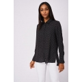 NEW Ladies women Polka Dot Chiffon Long Sleeve Shirt sizes 6 8 10 12 14 16 18