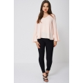 NEW Ladies women BELL SLEEVE PEACH BLOUSE EX-BRANDED sizes 8 10 12 14 16