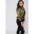 NEW Ladies women LIGHT BOMBER WITH EMBROIDERED BIRDS sizes 8 10 12 14 16