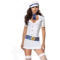 Adult Female Women White Captain Dress and Hat XL hen party Fancy dress costume