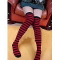 Ladies Women Adult Red & Black Nylon Over the knee stockings Outfit Hen nigh