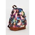 NEW Ladies women GALAXY PRINT YELLOW CANVAS BACKPACK DESIGN BAG