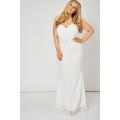 NEW Ladies women OFF WHITE BEADED LACE STRAPLESS PROM DRESS sizes 14 16 18 20