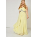 NEW Ladies women YELLOW PLEATED BUST AND GEM PROM DRESS size 14 16 18 20