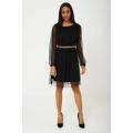 NEW Ladies women BLACK MESH SKATER DRESS sizes 4 6 8 10 12 14 16 18