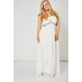 NEW Ladies women OFF WHITE PLEATED BUST AND GEM PROM DRESS size 14 16 18 20