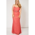NEW Ladies women PINK BEADED LACE STRAPLESS PROM DRESS SIZES 14 16 18 20
