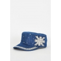 NEW Ladies women DENIM MILITARY STYLE CAP WITH RHINESTONE DIAMANTE DETAIL