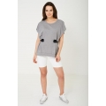 NEW Ladies women OVERSIZED TOP IN LIGHT GREY One Size (8-12)