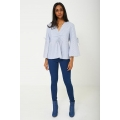 NEW Ladies women VOLUME SLEEVE BLOUSE IN BLUE sizes 6 8 10 12 14 16 18 20
