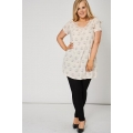 NEW Ladies women PLEAT FRONT TUNIC TOP WITH SWANS PATTERN sizes 16 18 20 22/24 26/28 30/32