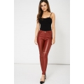 NEW Ladies women RIPPED KNEE RED SKINNY TROUSERS size XS S M L XL