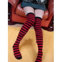 Red & Black Nylon Over the knee stockings