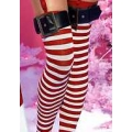 Striped Stockings with buckles Red/white