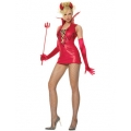 2 Piece Glitter Devil Costume. Red & Black. Leg Avenue.
