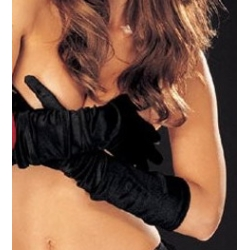 Long satin Gloves Black One Size