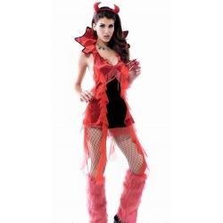 Hell Raiser Devil Girl Costume with fork 8-12