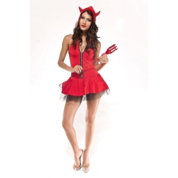Red Devil Girl Costume with fork
