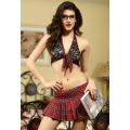 Sassy Black Plaid Schoolgirl Bra and Skirt Set Large